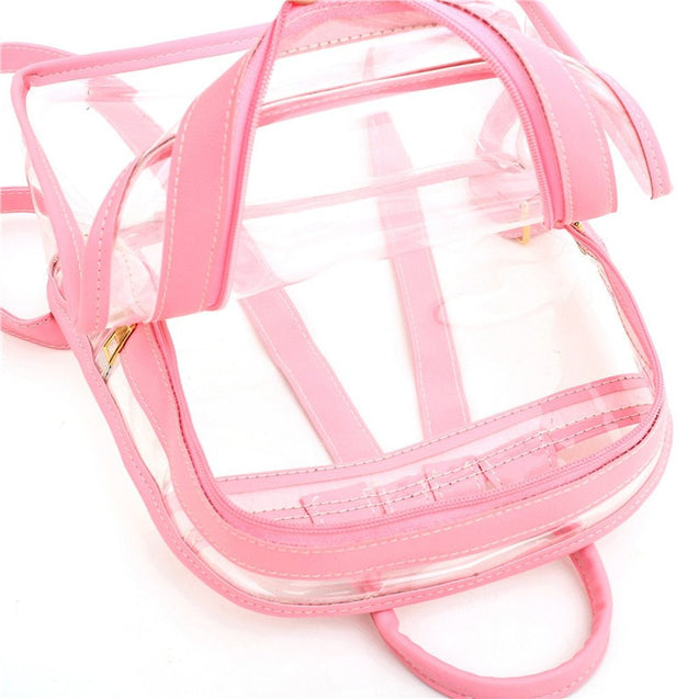 2 in 1 Cute Clear Mini Backpack for Women - InnovatoDesign