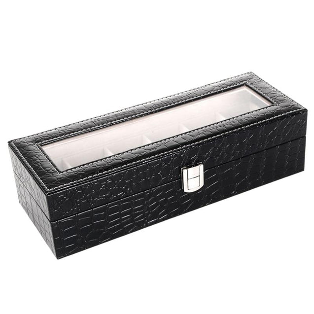 Black Leather Watch and Jewelry Storage Box - InnovatoDesign