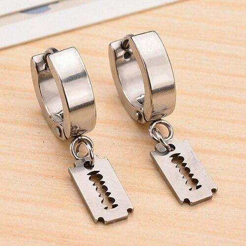 Men's Stainless Steel Razor Dangle Hoop Earrings - InnovatoDesign