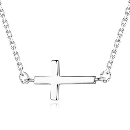 925 Sterling Silver Sideways Cross Pendant with Cubic Zirconia Crystals Necklace - InnovatoDesign