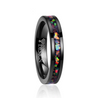 4mm Black Tungsten Carbide with Opal Inlay Slim Type Wedding Band