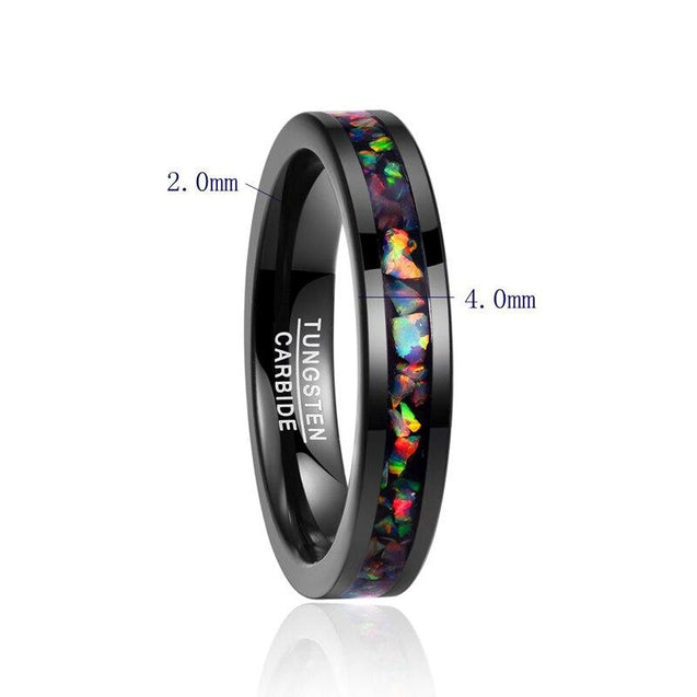 Black Tungsten Carbide with Opal Inlay Slim Type Wedding Band - InnovatoDesign