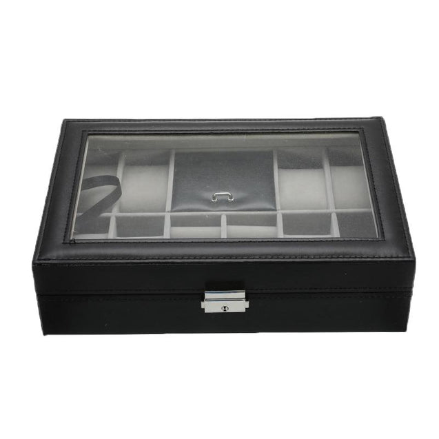 Black Leather Watch and Jewelry Multi Functional Storage Box - InnovatoDesign