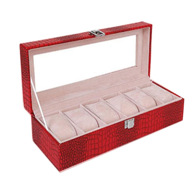 Red Leather Watch and Jewelry Display Storage Box - InnovatoDesign