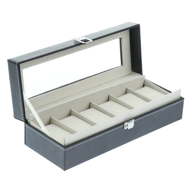 Gray Leather Watch and Jewelry Display Storage Box - InnovatoDesign