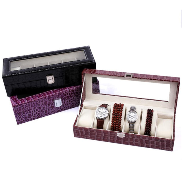 Burgundy Striped Leather Watch and Jewelry Display Storage Box - InnovatoDesign