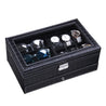 Black Leather Watch and Jewelry Multi-Functional Storage Box - InnovatoDesign