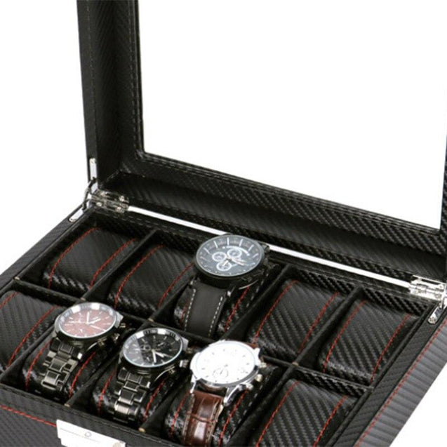 Black Leather 10 Grids Wristwatch Storage Box for Men - InnovatoDesign