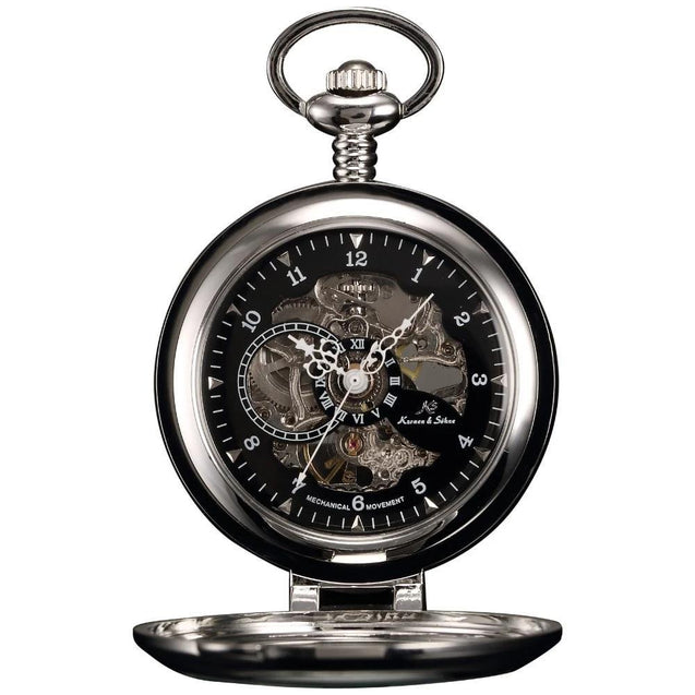 Silver Steel Alloy Pocket Watch with Intricate Carved Back Case - InnovatoDesign
