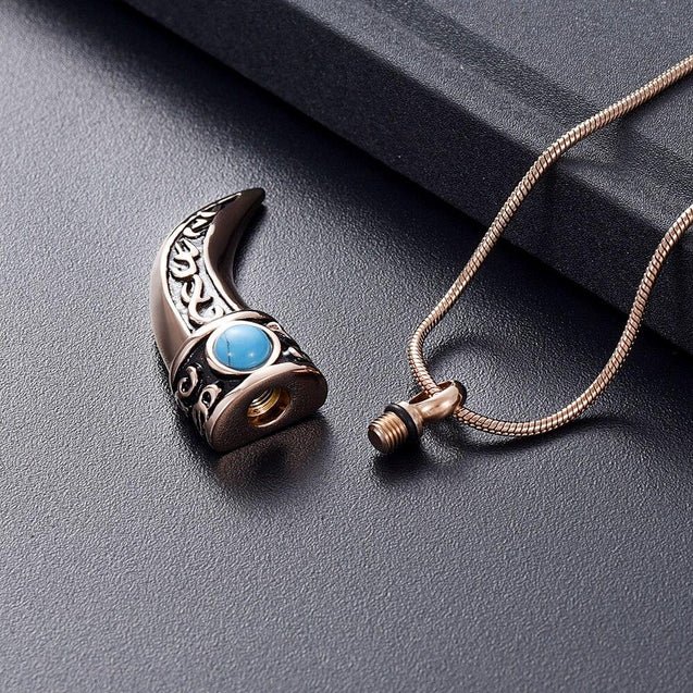 Stainless Steel Italian Horn with Blue Stone Pendant