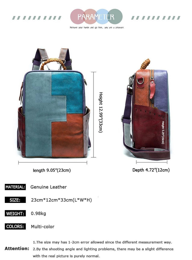 Large Multi-Color Convertible Genuine Leather Backpack - InnovatoDesign