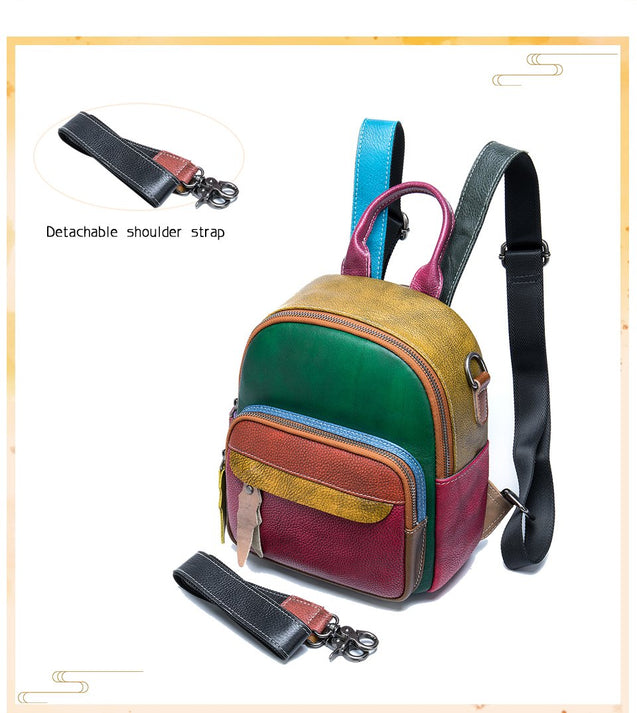 Genuine Leather School Bag with Brown Plaid Design - InnovatoDesign