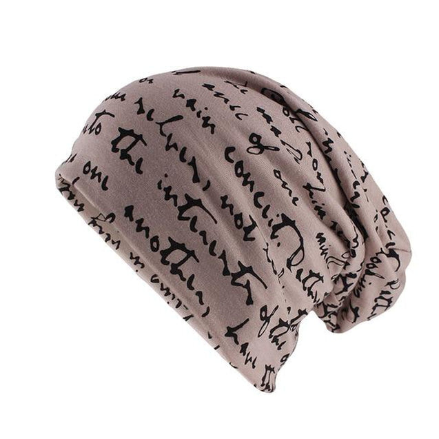 Scribbled Letters Style Cotton Beanie or Skullie