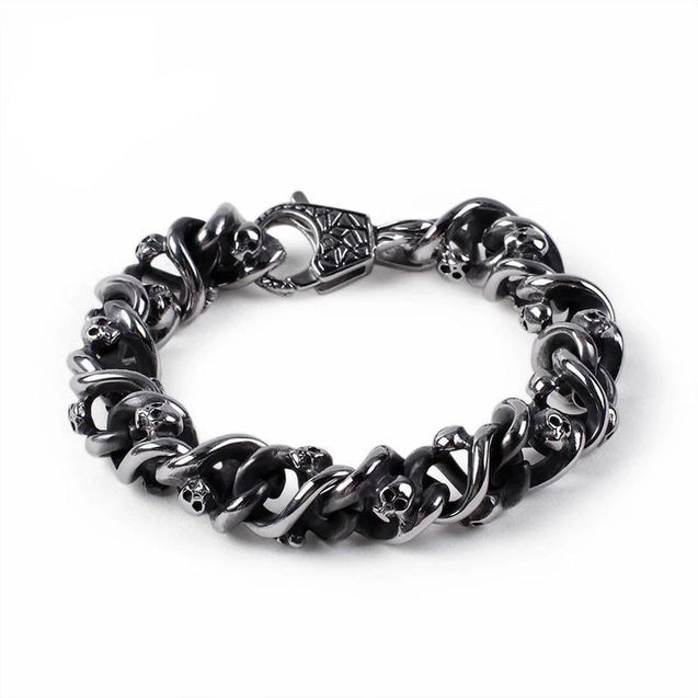 Men's Stainless Steel Skull Charm Bangle Bracelet - InnovatoDesign