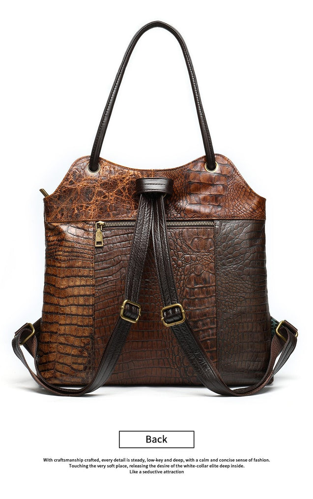 Lady's Sling Bag or Backpack with Floral Embossed Designs on Leather Patchwork Pattern - InnovatoDesign