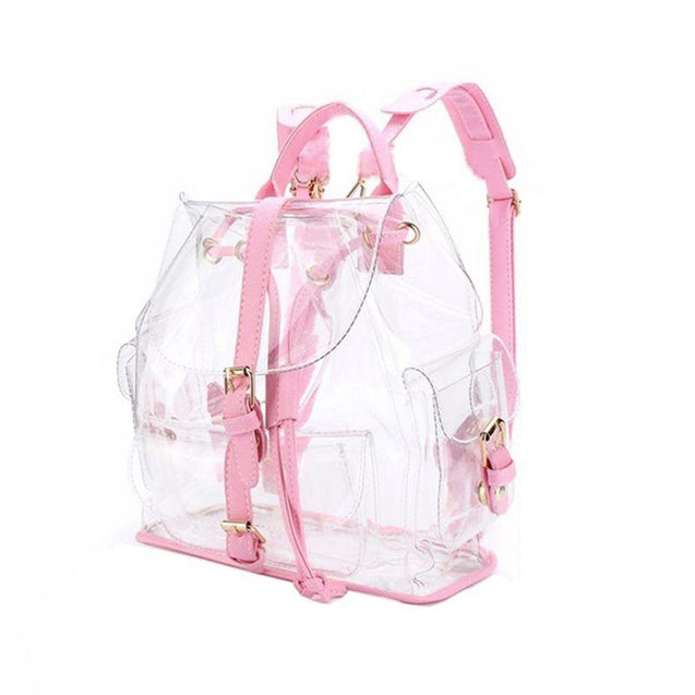 Pink Transparent Waterproof School and Travel Backpack - InnovatoDesign