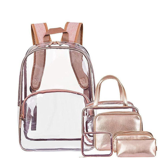 Transparent Schoolbags Travel Daypack Backpack Set for Women - InnovatoDesign