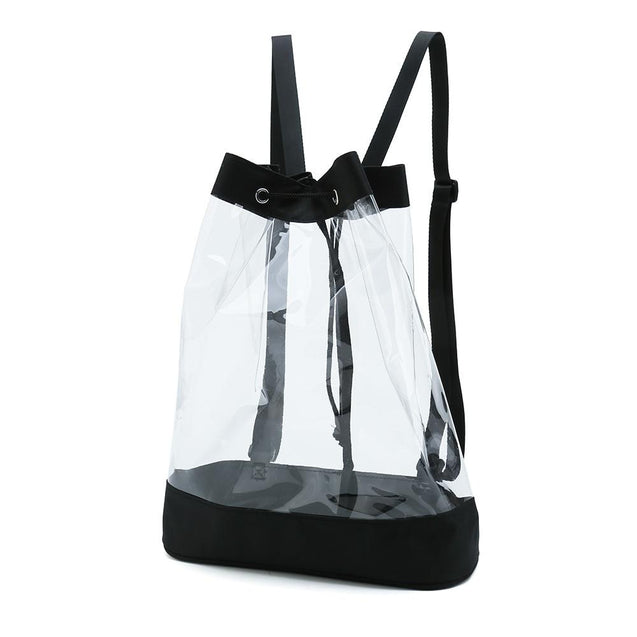 Black and Transparent Backpack With String Closure - InnovatoDesign