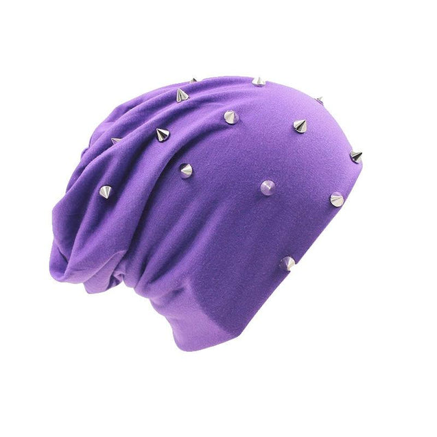 Hip-hop Solid Color Beanie, Skullie or Bonnet with Silvery Rivets