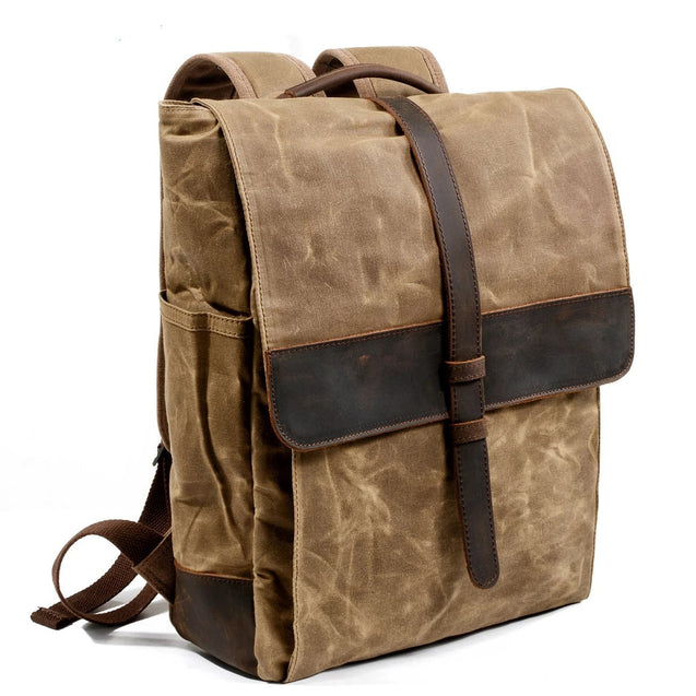 Waxed Canvas Leather School 76 Litre Backpack - InnovatoDesign