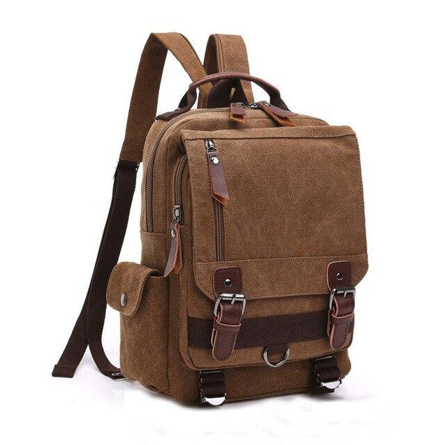 Vintage Canvas Leather Waterproof 20 Liter Travel Backpack - InnovatoDesign