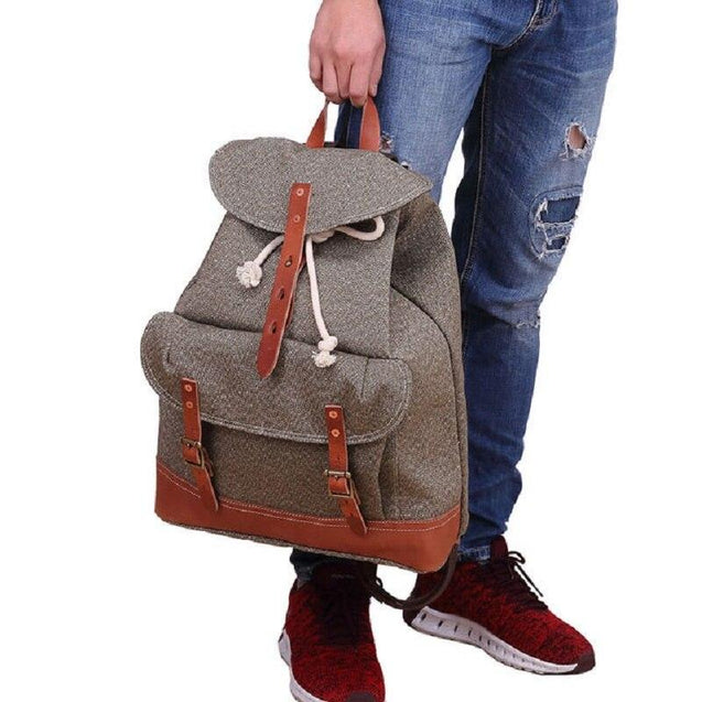 Canvas Leather Travel Backpack 20 to 35 Litre - InnovatoDesign