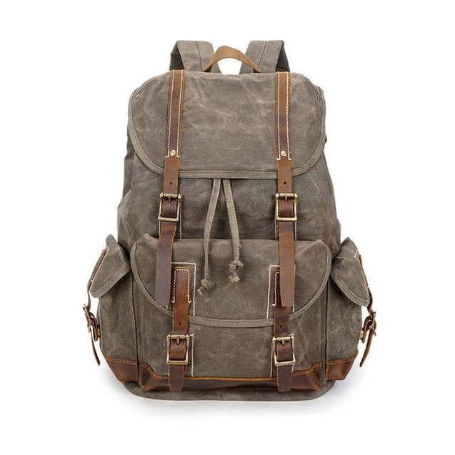 Canvas Leather 14 inch Laptop and Luggage Backpack 20 to 35 Litre - InnovatoDesign