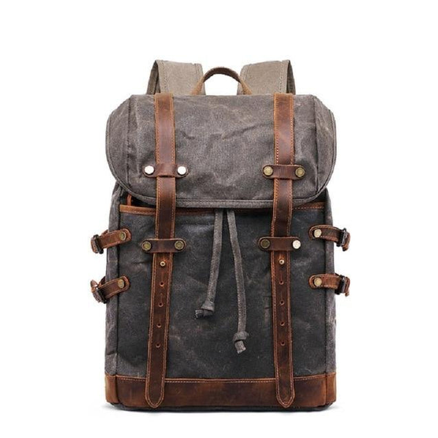 Canvas Leather Waterproof Student Backpack 20 to 35 Litre - InnovatoDesign