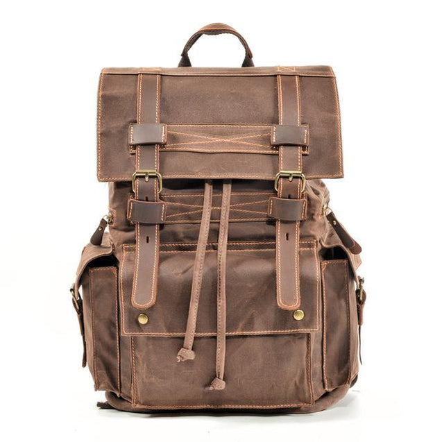 Vintage Brown Leather Casual Backpack 20 to 35 Litre for Men - InnovatoDesign