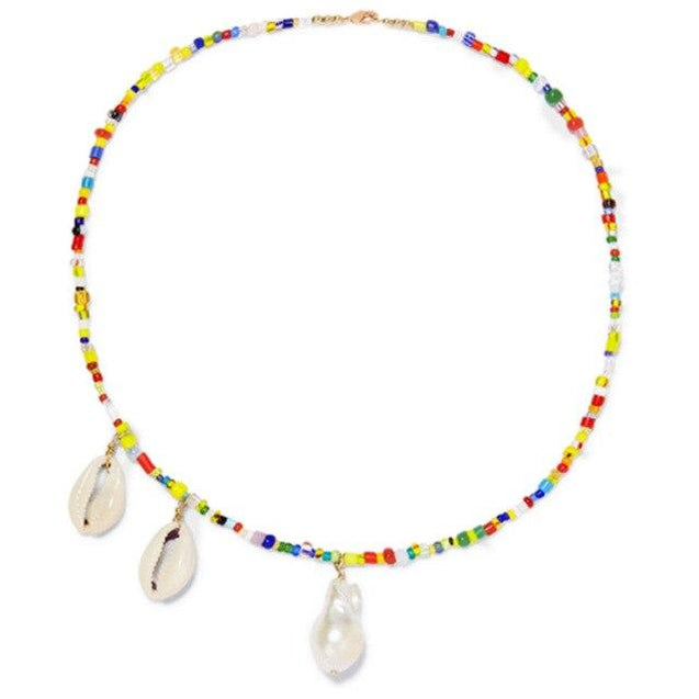 Colorful Beaded Necklace with Puka Shell and Stone Pendant - InnovatoDesign