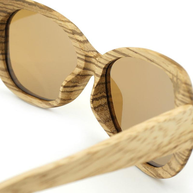 Bamboo Wood Polarized Sunglasses with Colorful Coating Mirrored UV Protection