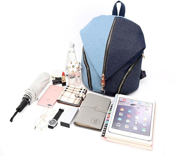 Blue Denim Canvas 20 Litre Backpack for Teenage Girls - InnovatoDesign