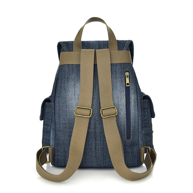 Blue and Green Denim Canvas School 20 to 35 Litre Backpack - InnovatoDesign