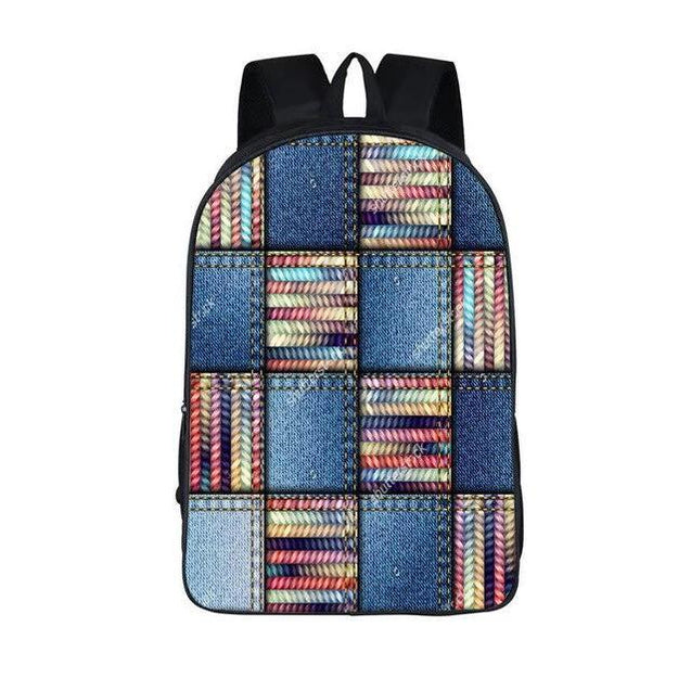 Blue Nylon Denim 20 to 35 Litre Backpack with Pet Design for Children - InnovatoDesign
