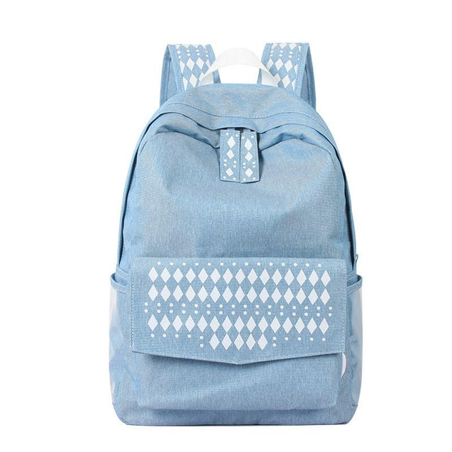 Blue Nylon Denim School Backpack for Teenage Girls - InnovatoDesign