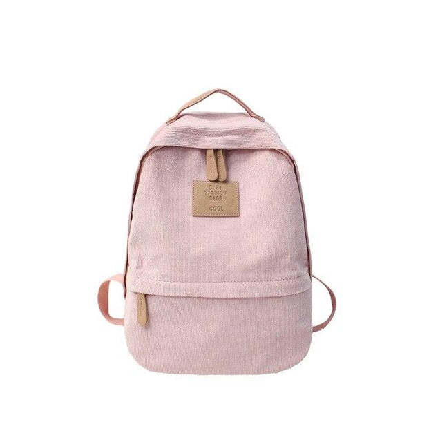 Corduroy School Backpack in 5 Colors with Zipper, Slot Pocket, Interior Compartment - InnovatoDesign