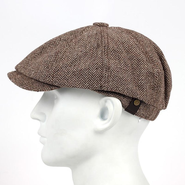 Woolen Herringbone Tweed Newsboy Cap