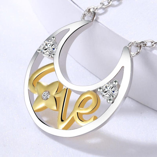 Two-tone 925 Sterling Silver and Gold Crescent Moon Love Pendant - InnovatoDesign
