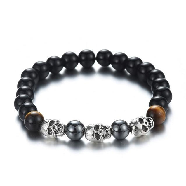 Black Natural Lava Stone Beads with Skull - InnovatoDesign