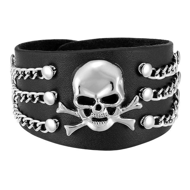 Black Genuine Leather Punk Skull with Chains Bracelet - InnovatoDesign