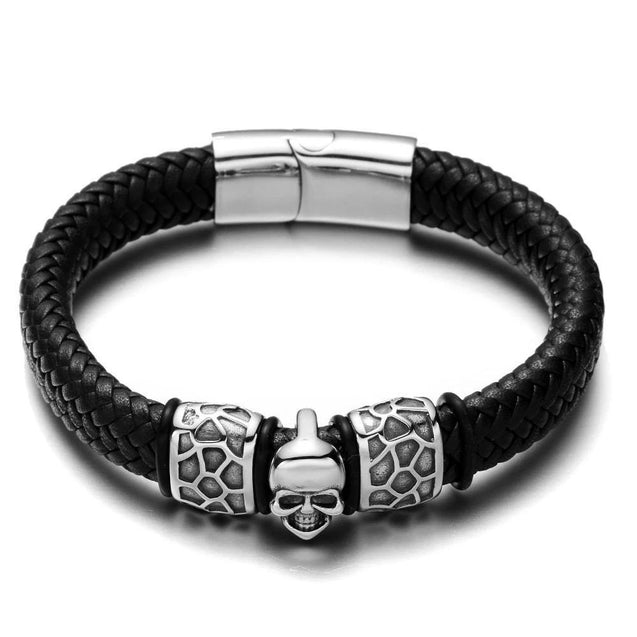 Black/Dark Brown Braided Leather Stainless Steel Skull and Beads Bracelet - InnovatoDesign