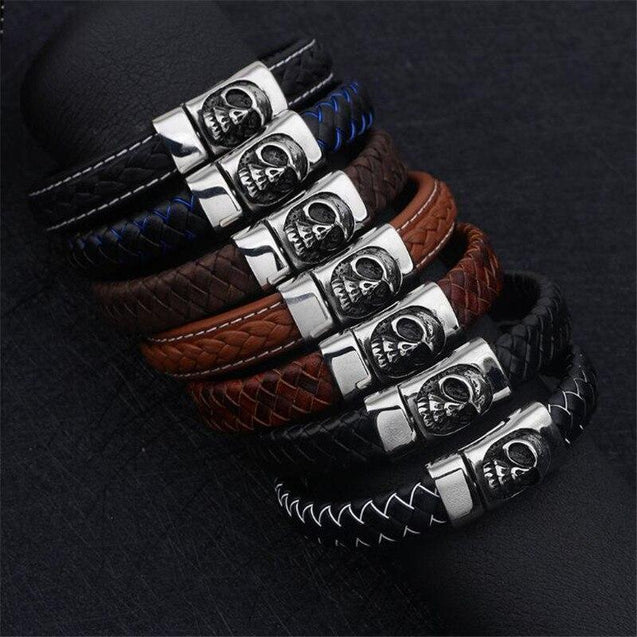 Black and Blue Braided Leather Stainless Steel Skull Bracelet - InnovatoDesign