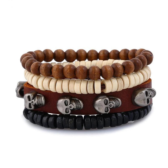 4 Pieces Brown Leather Stone and Wood Beads Skull Bracelet - InnovatoDesign