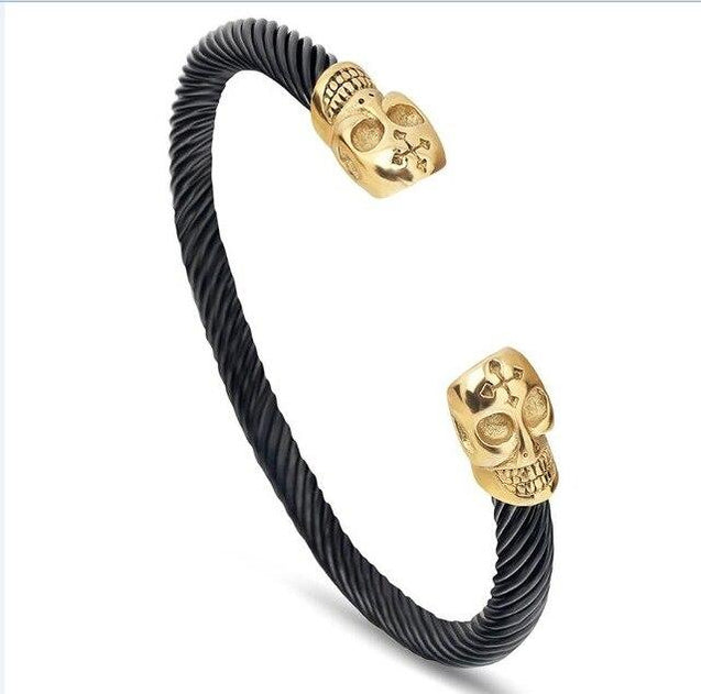Men's Two-Tone 316L Stainless Steel Twisted Skull Bracelet - InnovatoDesign