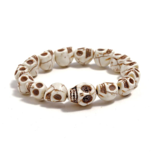 White Natural Stone Skull Beaded Bracelet - InnovatoDesign