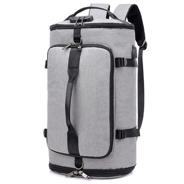 Three-Way Black/Gray Gym 20 to 35 Litre Travel Bag - InnovatoDesign