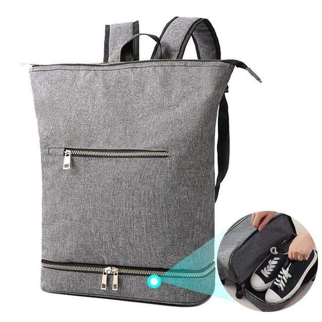 Black/Gray Dry and Wet Separator 20 to 35 Litre Fitness Backpack with Shoe Compartment - InnovatoDesign