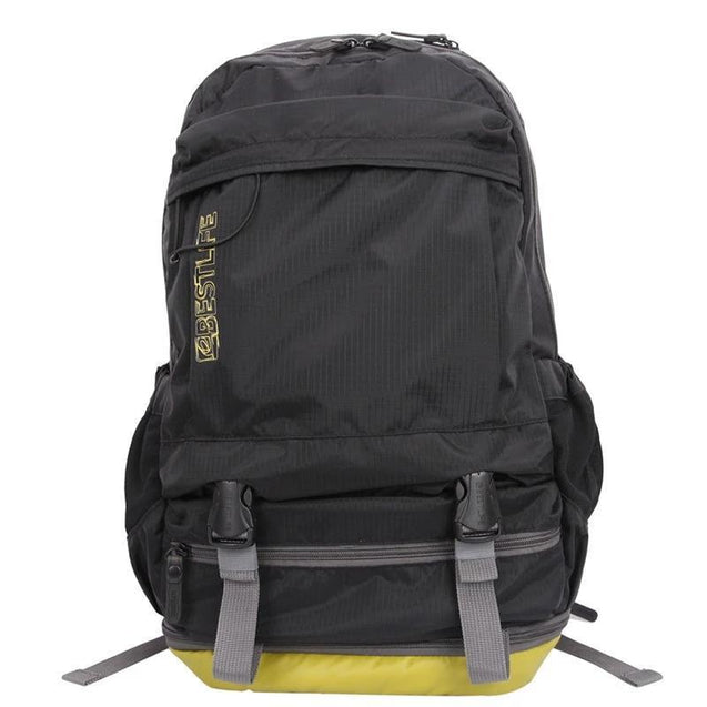 Black Camping/Hiking 20 to 35 Litre Backpack with Shoe Compartment - InnovatoDesign