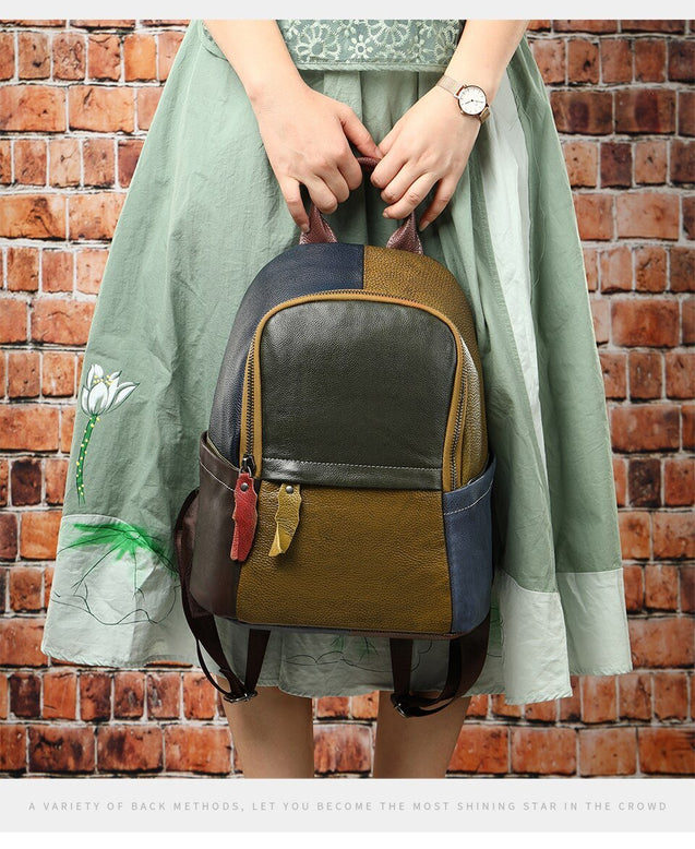 Large Colorful Green Yellow Blue and Red Pattern Genuine Leather Backpack - InnovatoDesign