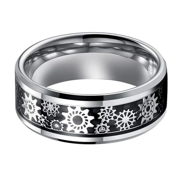 Silver Tungsten Carbide in Black Inlay with Gear Design Wedding Band - InnovatoDesign